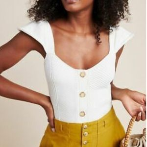 Anthropology NWOT Sweater Tank White S cotton